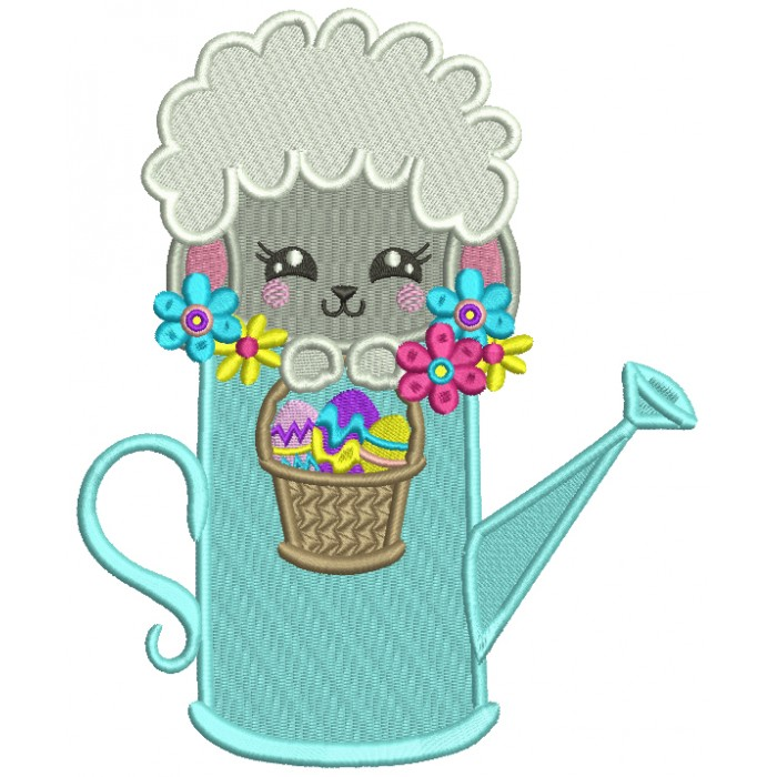 Little Sheep Sitting Inside a Watering Can Easter Filled Machine Embroidery Design Digitized Pattern