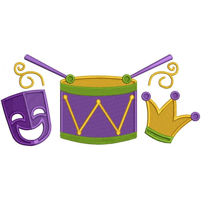 Mask Drums and Jester Hat Mardi Gras Filled Machine Embroidery Design Digitized Pattern
