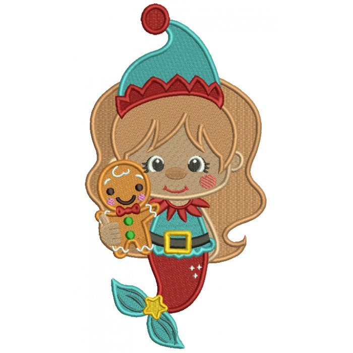 Mermaid Holdinng Gingerbread Man Filled Christmas Machine Embroidery Design Digitized Pattern