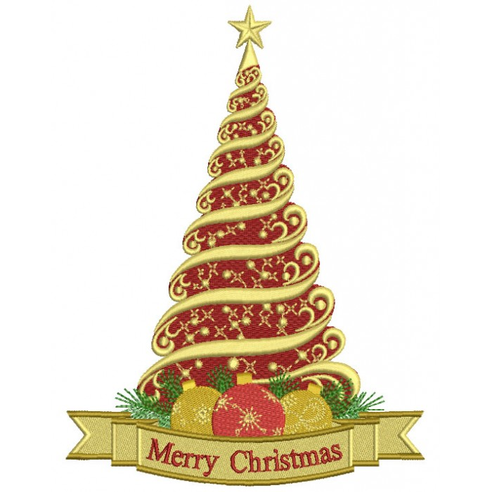 Merry Christmas Majestic Tree Filled Machine Embroidery Design Digitized Patter