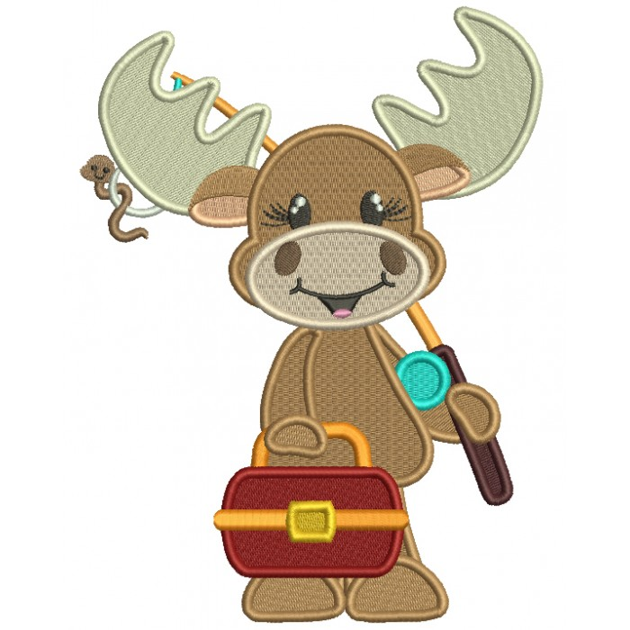 Moose Going Fishing Filled Machine Embroidery Design Digitized Pattern