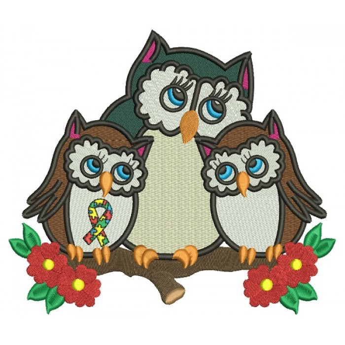Mother Owl And Two Baby Owls Autism Awareness Filled Machine Embroidery Design Digitized