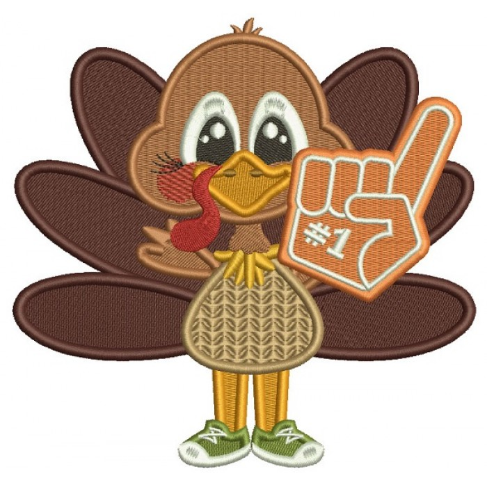 Number One Football Fan Turkey Thanksgiving Filled Machine Embroidery Design Digitized Pattern