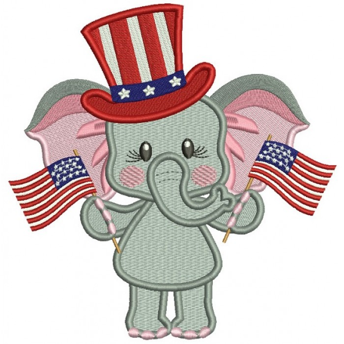 Patriotic Elephant Holding USA Flags Filled Machine Embroidery Design Digitized Pattern