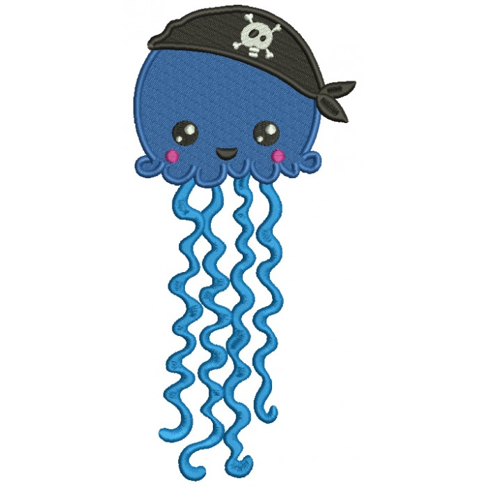 Pirate Jellyfish Filled Machine Embroidery Design Digitized