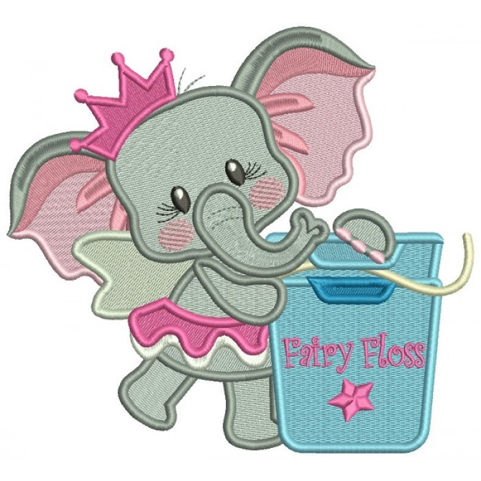 Princess Elephant With Fairy Floss Filled Machine Embroidery Design Digitized Pattern