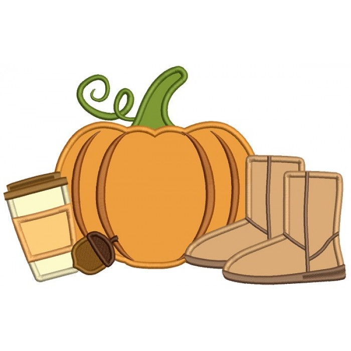 Pumpkin Coffee And Boots Fall Thanksgiving Applique Machine Embroidery Design Digitized Pattern