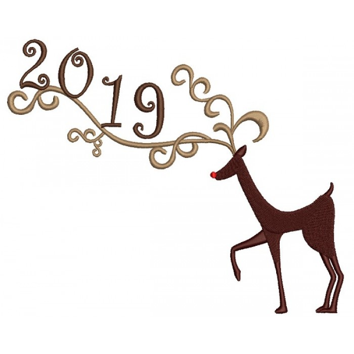 Reindeer 2019 New Year Filled Machine Embroidery Design Digitized Pattern