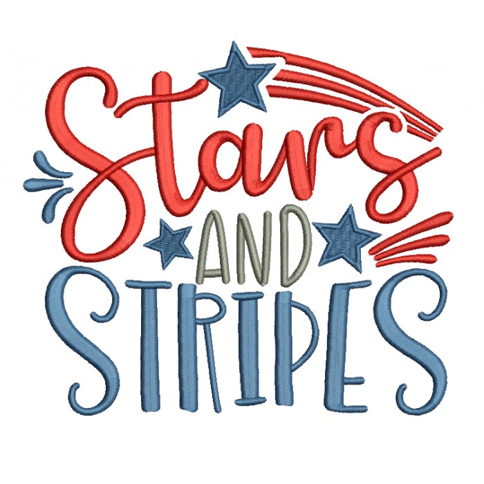 Stars And Stripes Patriotic Filled Machine Embroidery Design Digitized Pattern