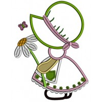 Sunbonnet Doll Holding a Daisy Applique Machine Embroidery Design Digitized Pattern