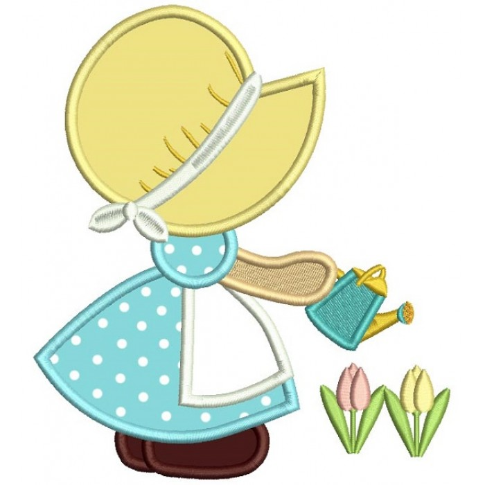 Sunbonnet Doll Watering Plants Applique Machine Embroidery Design Digitized Pattern