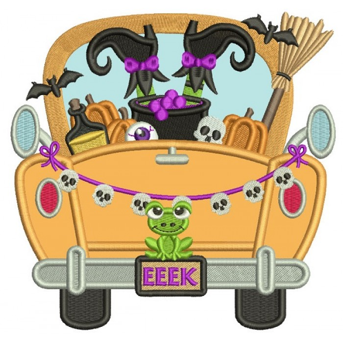 Truck With an Upside Down Witch Halloween Applique Machine Embroidery Design Digitized Pattern