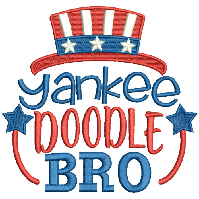Yankee Doodle Bro Patriotic Filled Machine Embroidery Design Digitized Pattern