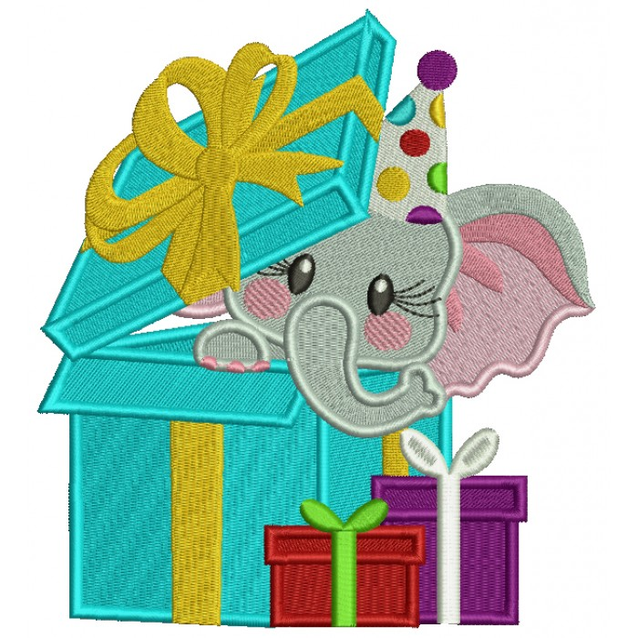 Birthday Elephant Hiding Inside a Gift Box Filled Machine Embroidery Design Digitized Pattern