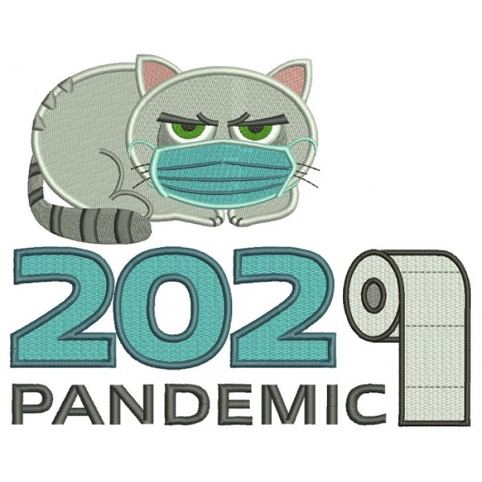 Cat Wearing a Mask 2020 Toilet Paper Pandemic Filled Machine Embroidery Design Digitized Pattern