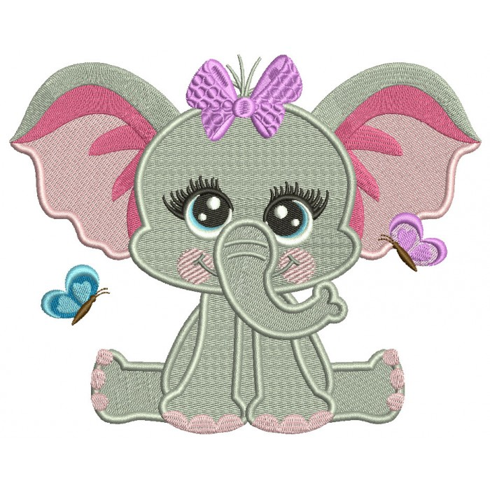 Cute Baby Girl Elephant With Butterflies Filled Machine Embroidery Design Digitized Pattern