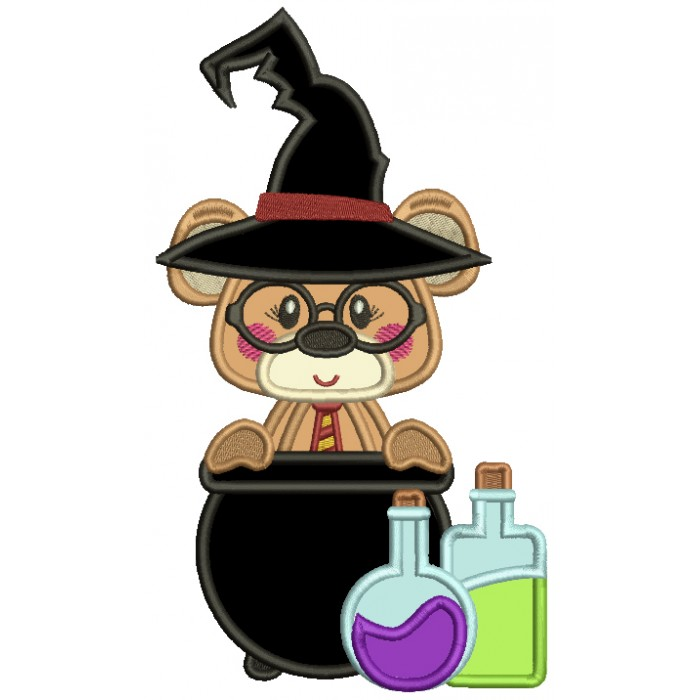 Cute Bear Looks Like Harry Potter With Potions Wearing Sorting Hat Applique Machine Embroidery Design Digitized Pattern