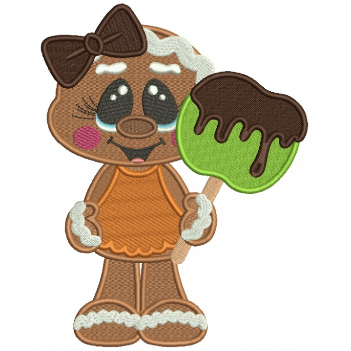 Cute Gingerbread Girl Holding Apple Covered With Chocolate Filled Thanksgiving Machine Embroidery Design Digitized Pattern