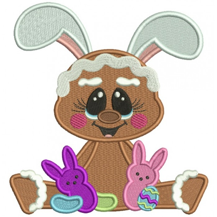 Cute Gingerbread Man Holding Easter Bunnies Filled Machine Embroidery Design Digitized