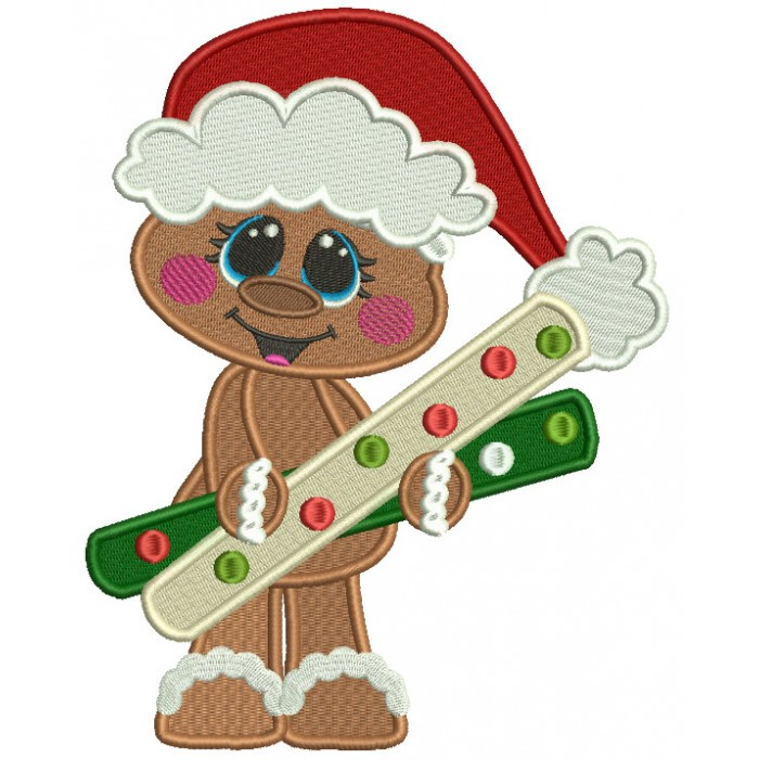 Cute Gingerbread Man Holding a Huge Candy Christmas Filled Machine Embroidery Design Digitized Pattern