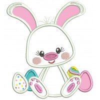 Cute Little Bunny With Easter Eggs Applique Machine Embroidery Design Digitized