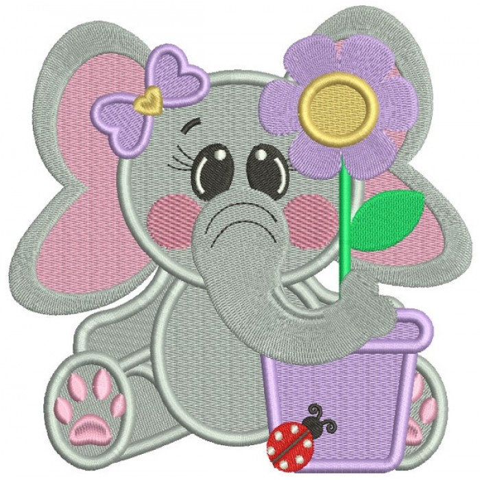 Cute Little Elephant With a Flower Pot Filled Machine Embroidery Design Digitized Pattern
