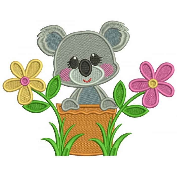 Cute Little Koala Sitting Inside a Flower Pot Filled Machine Embroidery Design Digitized Pattern