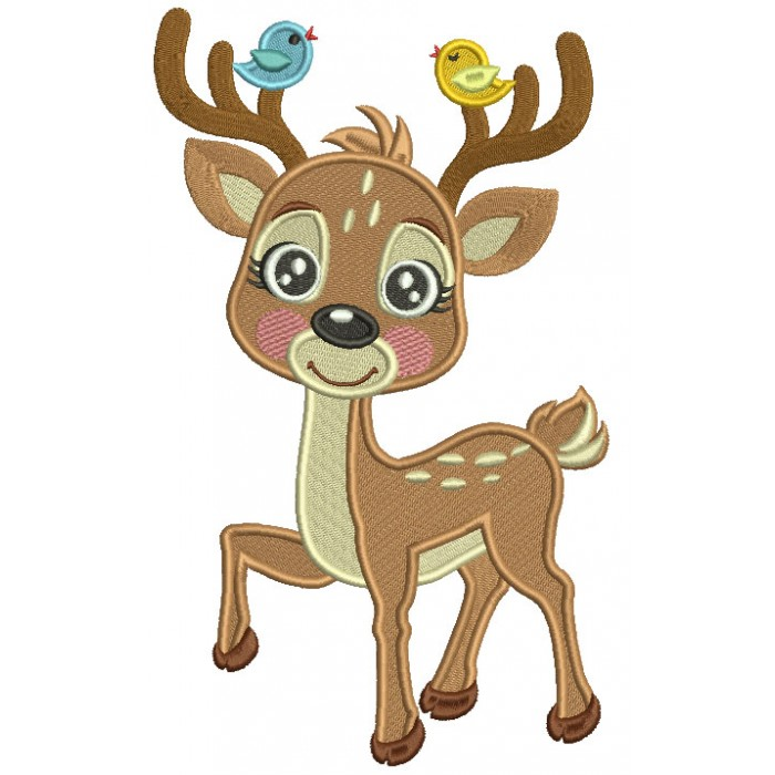 Cute Little Reindeer With Two Singing Birds Filled Machine Embroidery Design Digitized Pattern