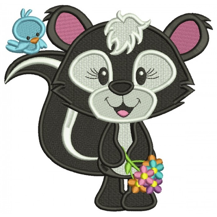 Cute Little Skunk With A Little Bird Filled Machine Embroidery Design Digitized Pattern