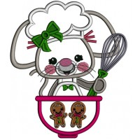 Cute Mouse Cook Applique Christmas Machine Embroidery Design Digitized Pattern