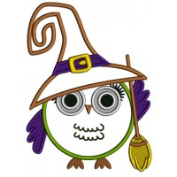 Cute Owl Witch With a Big Hat And a Broom Applique Machine Embroidery Design Digitized Pattern
