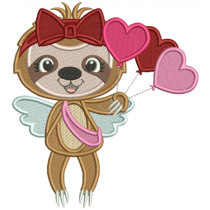 Cute Sloth With Heart Shaped Balloons Filled Valentine's Day Machine Embroidery Design Digitized Pattern