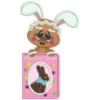 Easter Gingerbread Man Holding Chocolate Bunny Applique Machine Embroidery Design Digitized