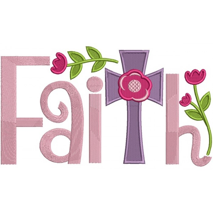 Faith Cross With Flowers Filled Machine Embroidery Design Digitized Pattern