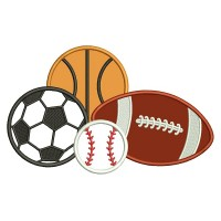 Football Soccer Baseball And Soccer Ball Applique Machine Embroidery Design Digitized Pattern