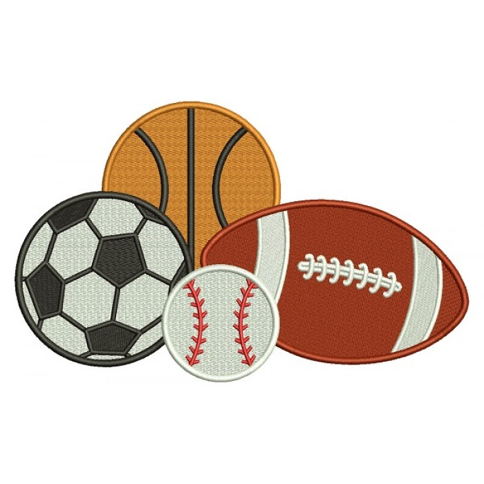 Football Soccer Baseball And Soccer Ball Filled Machine Embroidery Design Digitized Pattern