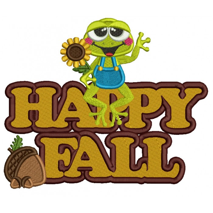 Froggy With Sunflower Happy Fall Filled Machine Embroidery Design Digitized Pattern