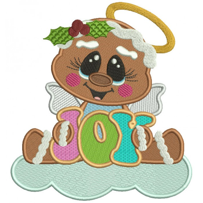 Gingerbread Angel On The Cloud JOY Filled Christmas Machine Embroidery Design Digitized Pattern