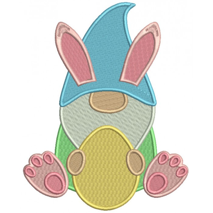 Gnome Holding Easter Egg Filled Machine Embroidery Design Digitized Pattern