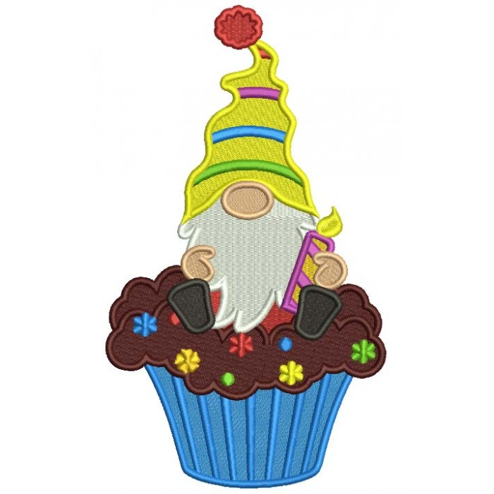 Gnome Sitting On The Cupcake Birthday Filled Machine Embroidery Design Digitized Pattern