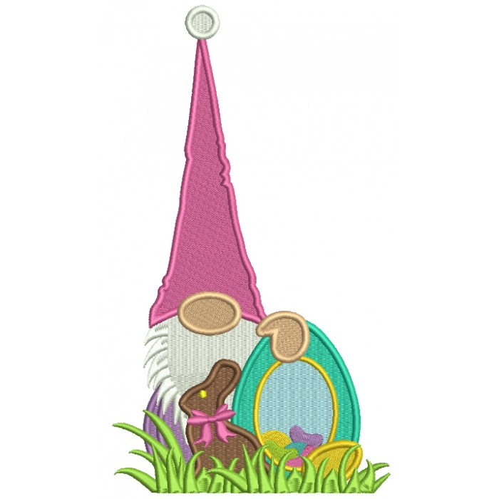 Gnome With Chocolate Bunny Holding An Easter Egg Filled Machine Embroidery Design Digitized Pattern