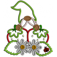 Gnome With Strawberries And Daisies Applique Machine Embroidery Design Digitized Pattern
