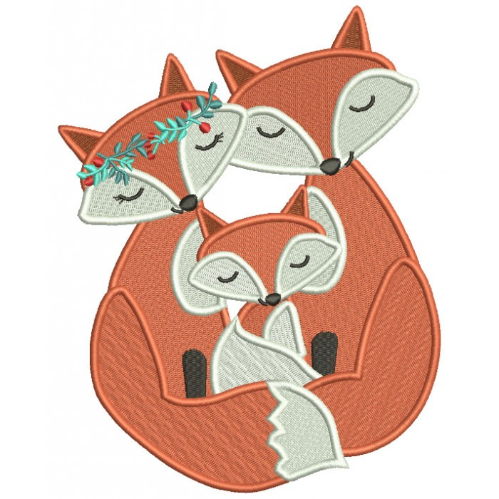 Happy Fox Family Filled Machine Embroidery Design Digitized Pattern