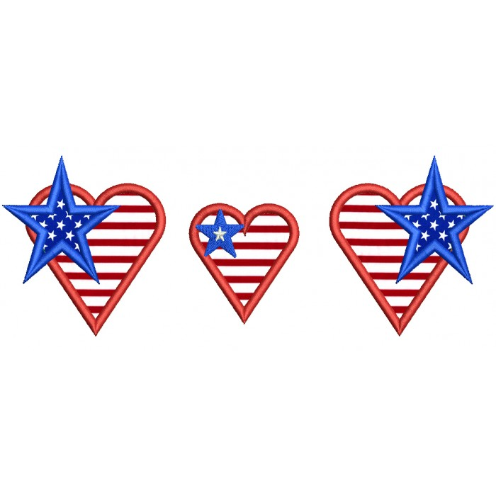 With American Flag And Stars Applique Machine Embroidery Design