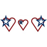 Hearts With American Flag and Stars Applique Machine Embroidery Design Digitized Pattern
