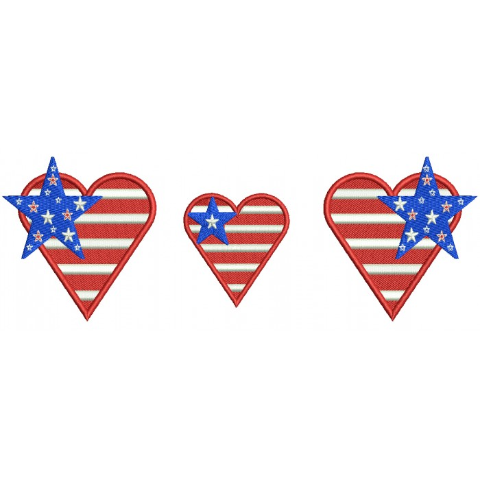 Hearts With American Flag and Stars Filled Machine Embroidery Design Digitized Pattern