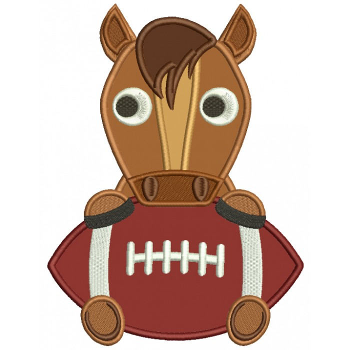 Horse With a Football Sports Applique Machine Embroidery Design Digitized Pattern