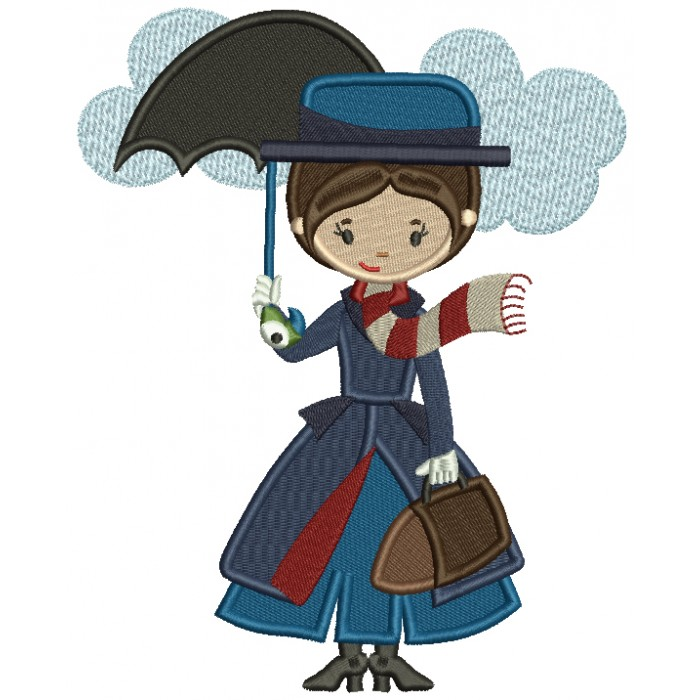 Lady Holding an Umbrella Filled Machine Embroidery Design Digitized Pattern