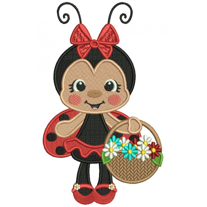 Ladybug a Flower Basket And a Bow Filled Machine Embroidery Design Digitized Pattern