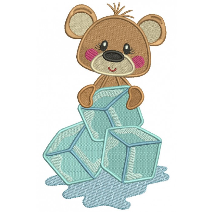 Little Bear Sitting On Ice Cubes Filled Machine Embroidery Digitized Design Pattern